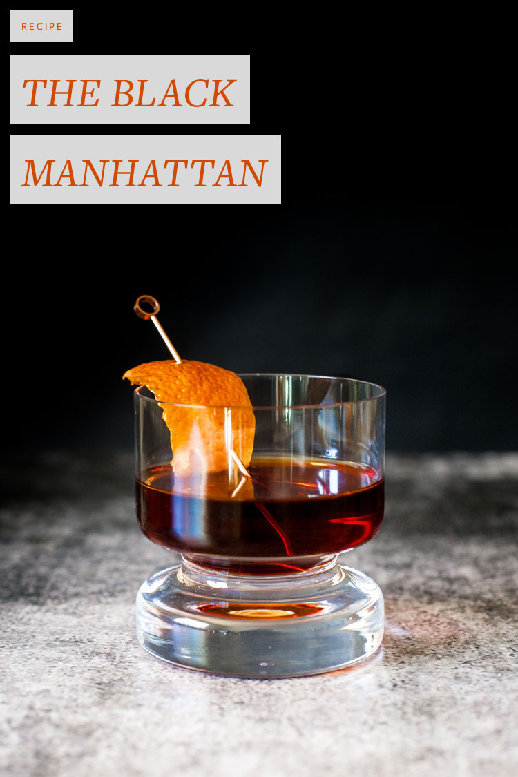 The Black Manhattan cocktail recipe with rye, amaro, citrus and aromatic bitters. Perfect for sipping at a fall party. Get the full recipe on Jojotastic.com