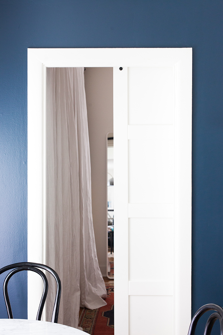 Need to save space in your small space or tiny home? Install a @rejuvenationinc barn door! Sharing more about our decision to install a barn door in our bedroom renovation on jojotastic.com