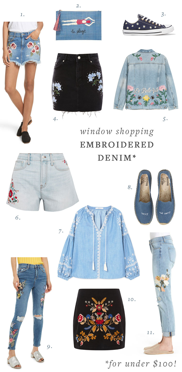 fall trend shopping, embroidered denim (for under $100!) on jojotastic.com