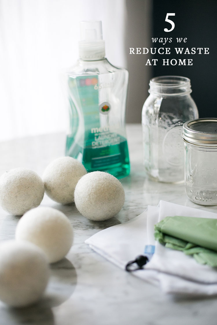 5 ways we reduce waste in our home: wool dryer balls, natural detergent, reusable food storage, cotton shower curtain liner, and composting! Get more tips & trucks on jojotastic.com