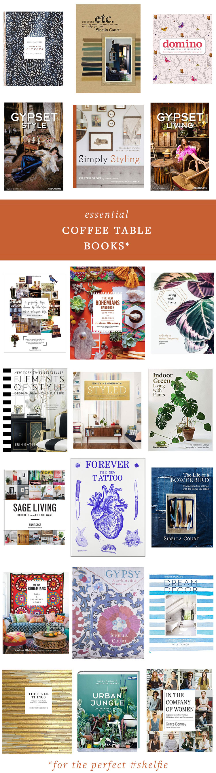 my essential coffee table books to style the perfect #shelfie! get the full source list on jojotastic.com