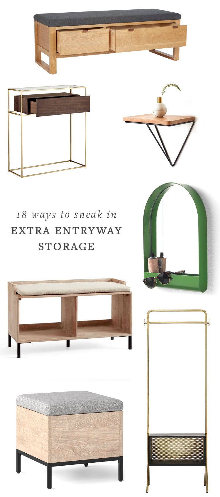 18 ways to sneak in extra entryway storage. perfect for preparing your home for holiday guests whether it's a tiny home or not! get all of the home decor shopping sources on jojotastic.com #smallspaces #tinyhome