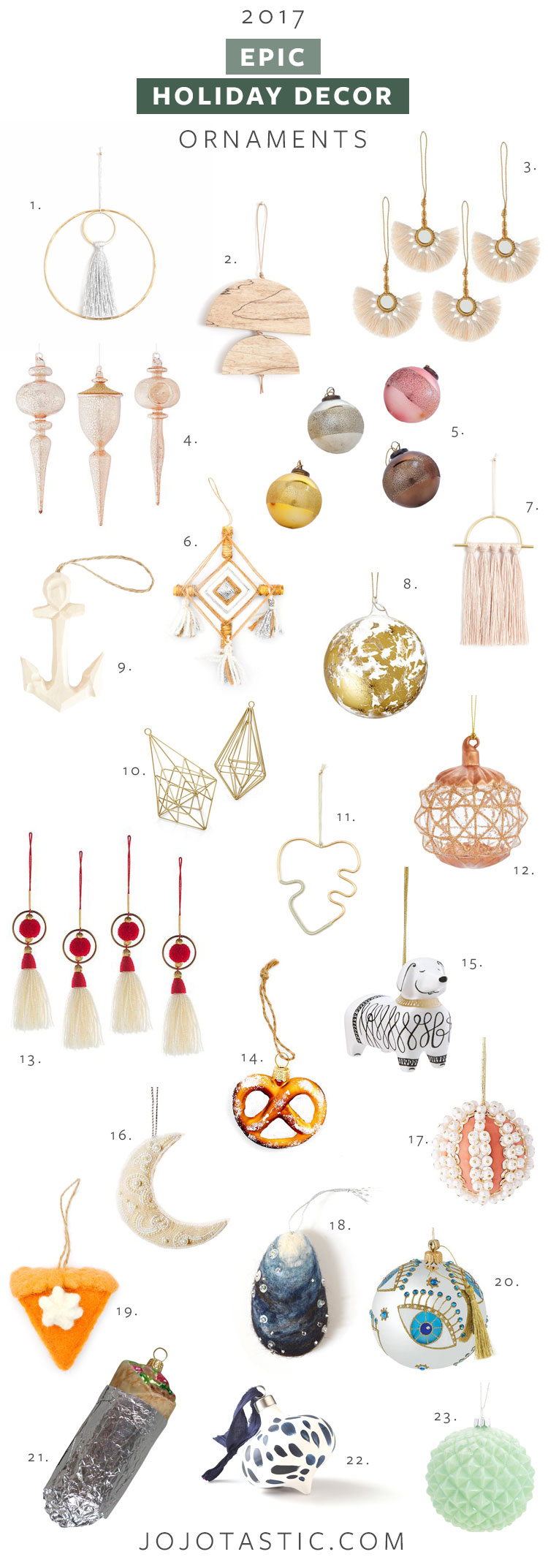 my epic holiday decor round up: ornaments, tree toppers, & lights. get the full source list on jojotastic.com #christmas #christmasdecor