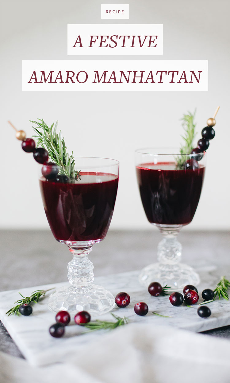 A festive amaro manhattan cocktail recipe jojotastic for Cranberry bitters cocktail recipe