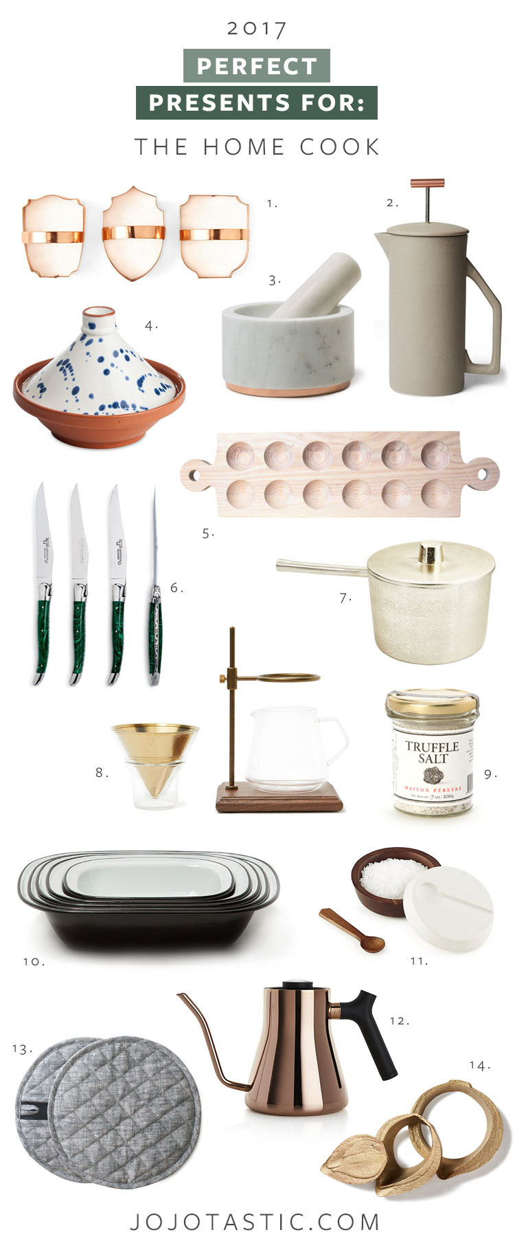 perfect presents for the home cook or chef! lots of gorgeous, unexpected kitchen, dining, and cooking essentials. Get the full gift guide and shopping list on jojotastic.com #giftguide #christmasgifts #giftsforher #giftsforhim