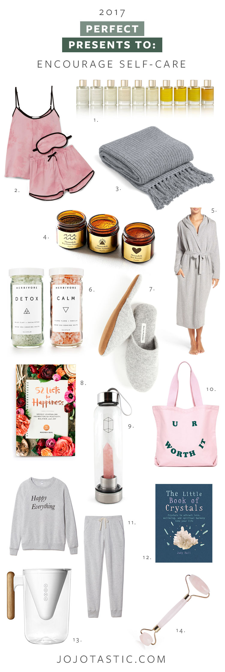 The perfect presents to encourage self-care for that friend who loves essential oils, crystals, and yoga (or needs to!). Get the full gift guide on jojotastic.com #giftguide #holidaygifts #selfcare #christmasgifts
