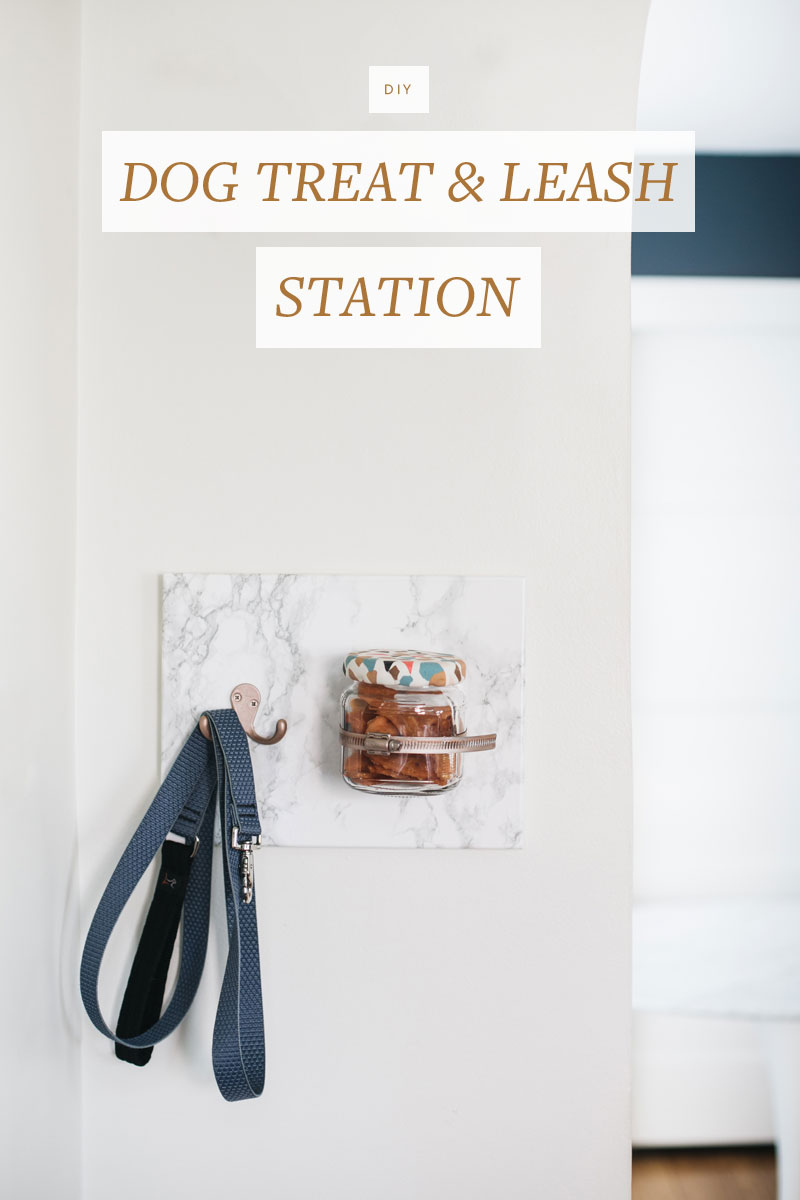 Keep your pup's delicious @miloskitchen treats and cute leash organized and ready to go with this chic #DIY treat station. Get the full tutorial at Jojotastic.com #MilosKitchen #TreatingTuesday #ad