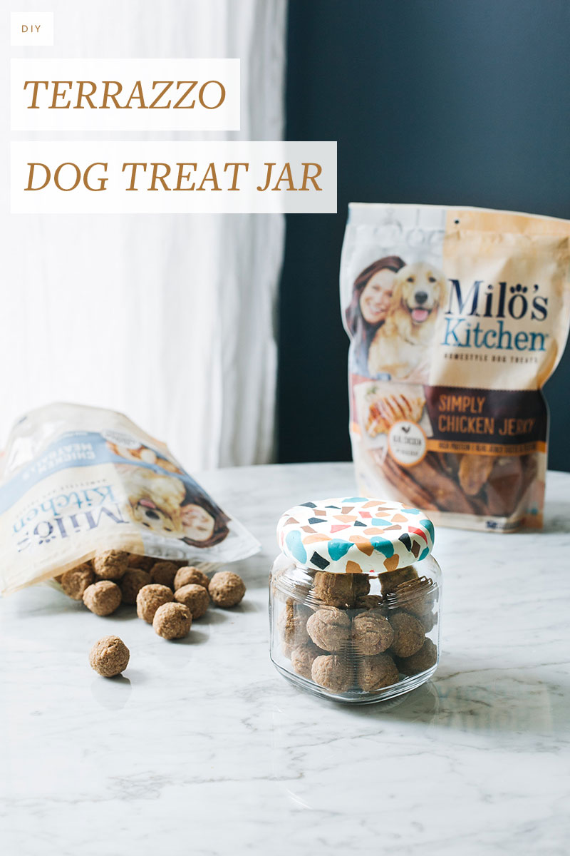 Treat your pup to delicious, home-style @miloskitch dog treats stored in this pretty #DIY terrazzo jar. Get the full tutorial at Jojotastic.com #MilosKitchen #TreatingTuesday #ad