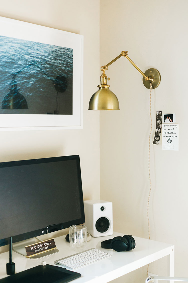My studio space makeover reveal! Prop stylist and blogger office in Seattle. See more on jojotastic.com with @allmodern @schoolhouseelec @annieselke @bludot #makeover #beforeafter #reveal #studiospace #officespace #office