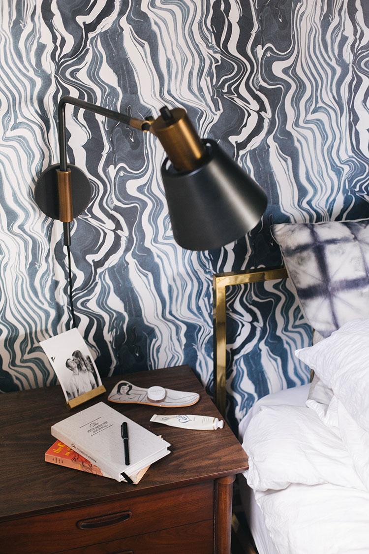 blue marble wallpaper, @rejuvenationinc sconce, mid century modern nightstand