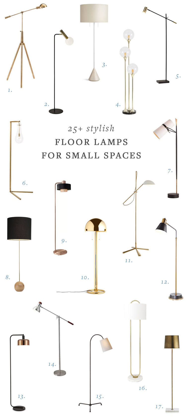 25+ stylish floor lamps for your small space or any size home! resources for lighting for living room, home office, or dining room. #smallspace #floorlamp #lighting #homedecor