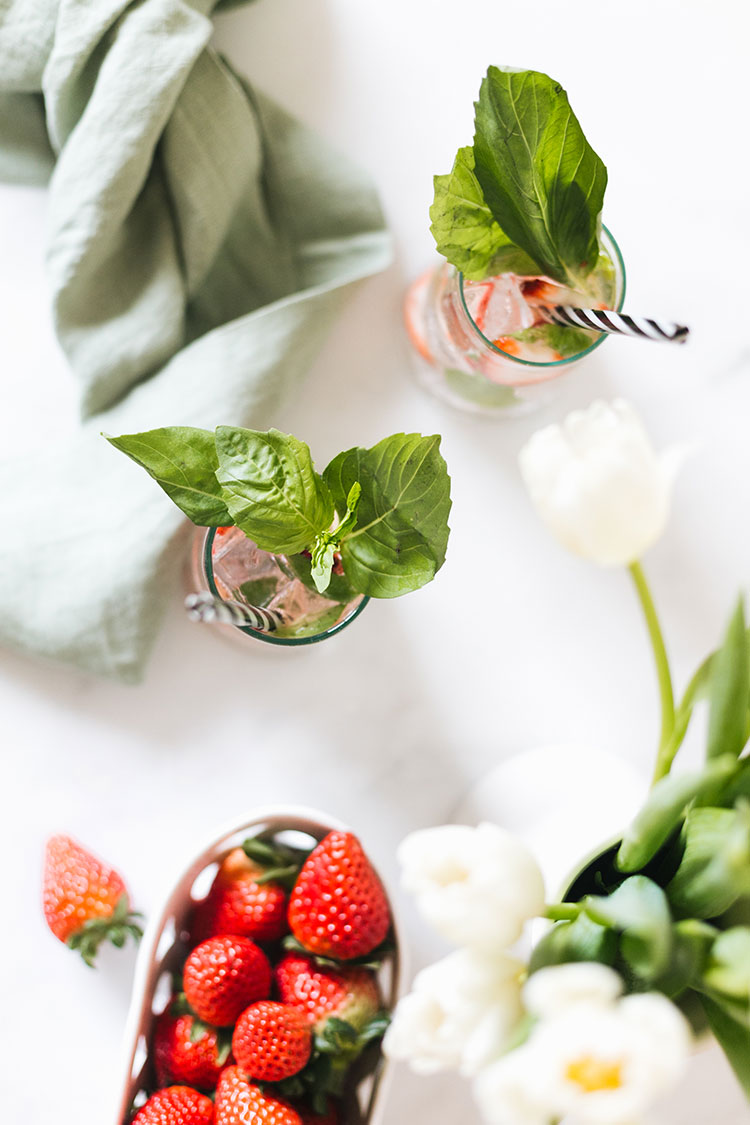 strawberry basil caipirinha recipe, perfect for a spring brunch, easter, mother's day or unexpected st. patrick's day celebrations. #cocktail #caipirinha #recipe