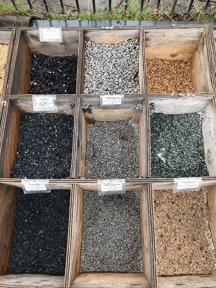 One Room Challenge, my backyard oasis makeover week 3. Rock Ridge thermal bluestone pavers, makeover progress, landscaping, choosing a stain color and type of pea gravel. @mycraftyhmelife #oneroomchallenge