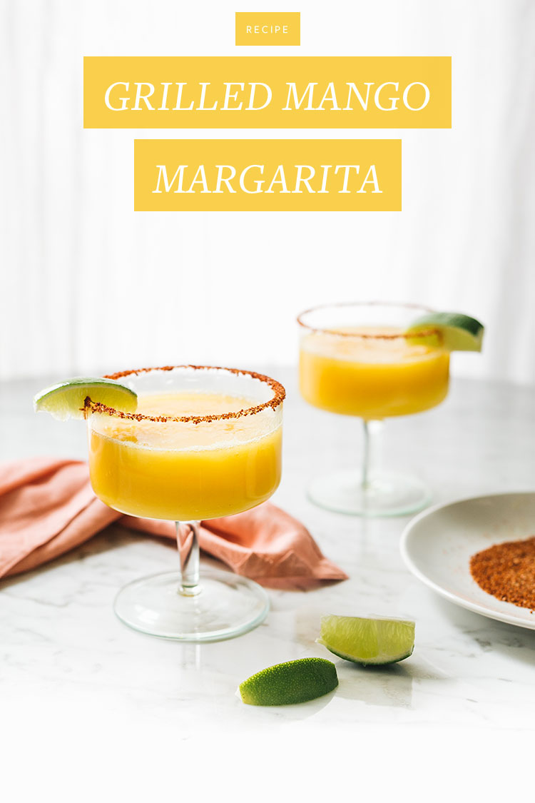 grilled mango margarita recipe for Margarita Week. Made with silver tequila, fruit juices, grilled mango puree. So delicious for cinco de mayo! #margaritaweek #margarita #grilledmango #mango #cocktail #recipe #cocktailrecipe