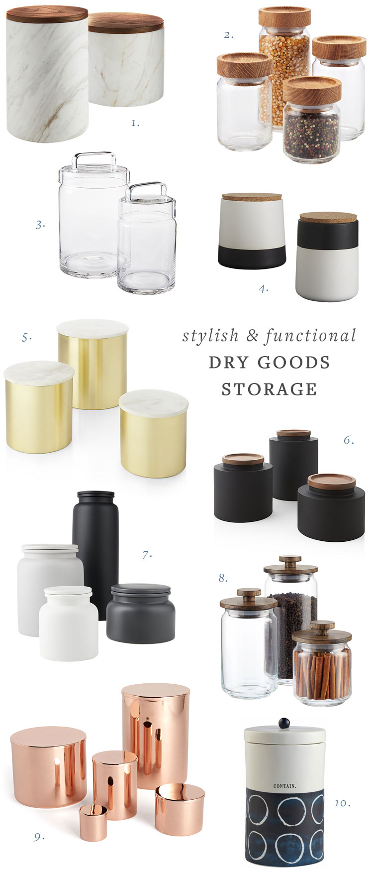 my search for stylish (and functional) dry goods storage containers. full source list on jojotastic.com #foodstorage #canisters #kitchenstorage #smallspaces #organization #kitchenorganization