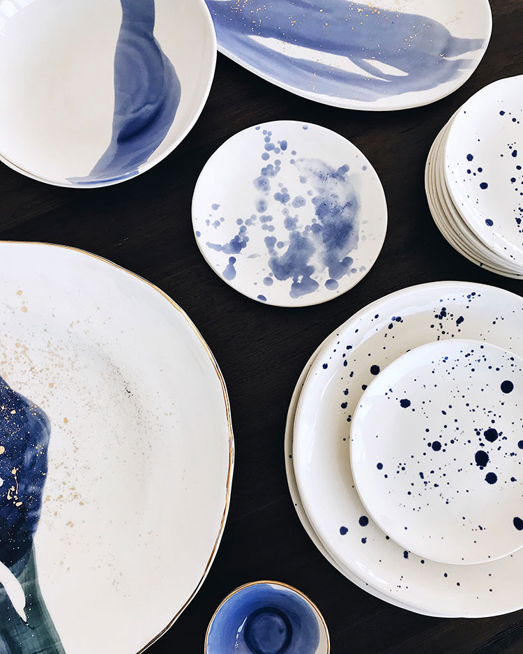 white and blue handmade porcelain tableware dishes and bowls by Suite One Studio @suiteonestudio