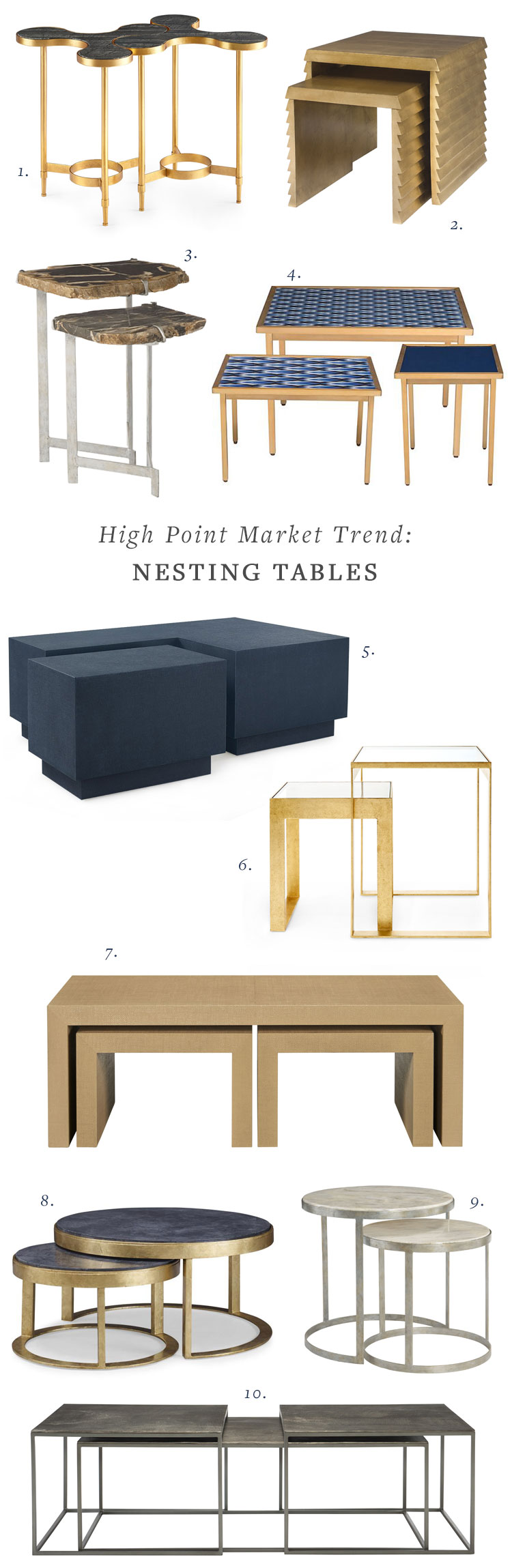 High Point Market interior design and furniture trend for 2018, nesting side tables, cocktail tables, and accent tables, and coffee tables. A great way decorating idea for a small space. #HPMKT #designbloggerstour @HighPointMarket #DesignBloggersTour #HPMKT #ad