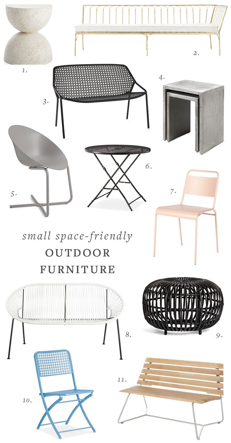 outdoor deck or patio furniture for small spaces. outdoor dining and lounge  furniture round up - Small Space-friendly Outdoor Furniture Jojotastic