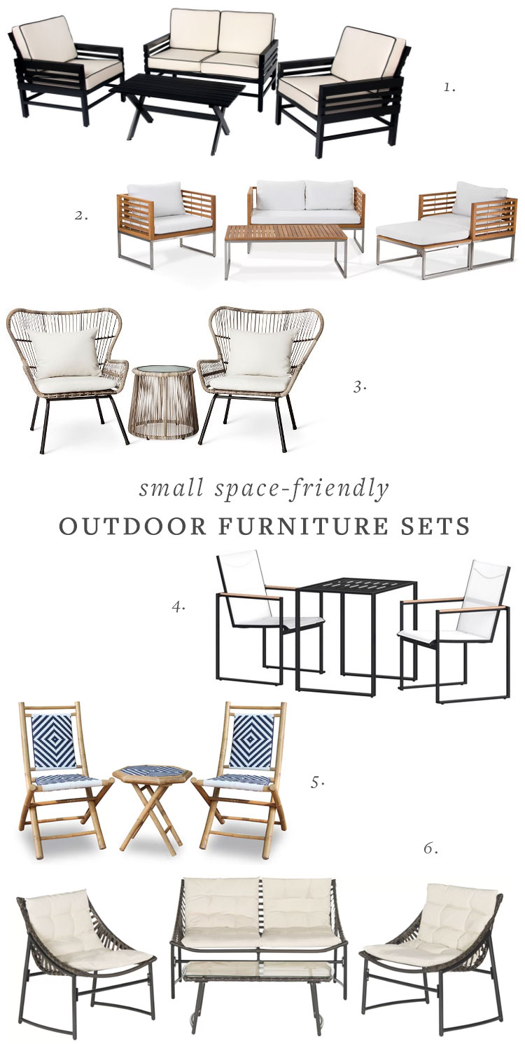 outdoor deck or patio furniture for small spaces. outdoor dining and lounge furniture round up. #smallspaces #outdoordining #outdoor #outdoorfurniture #patiofurniture #deckfurniture #tinyhouse