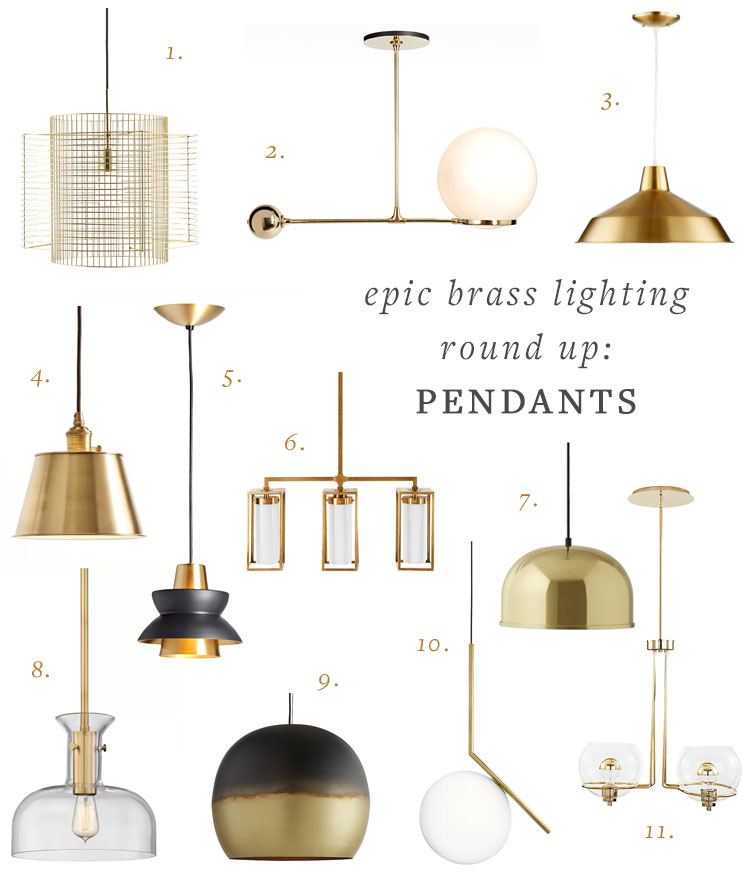 my epic brass lighting round up including table lamps, sconces, pendants, and floor lamps! #brass #lighting #brasslighting #brasslamp #tablelamp #floorlamp #pendant #sconce #interiordesign #decor