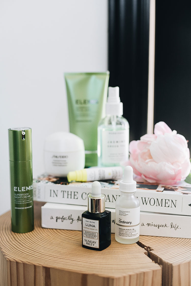my night time skincare routine including Elemis facial cleaner, Herbivore Botanicals jasmine green tea toner, Shiseido eye cream, Drunk Elephant virgin Marula luxury face oil, Sunday Riley luna sleep oil, The Ordinary Hyaluronic Acid 2% + B5 & more. #skincare #skincareroutine #beauty #koreanbeauty #koreanskincare #naturalskincare