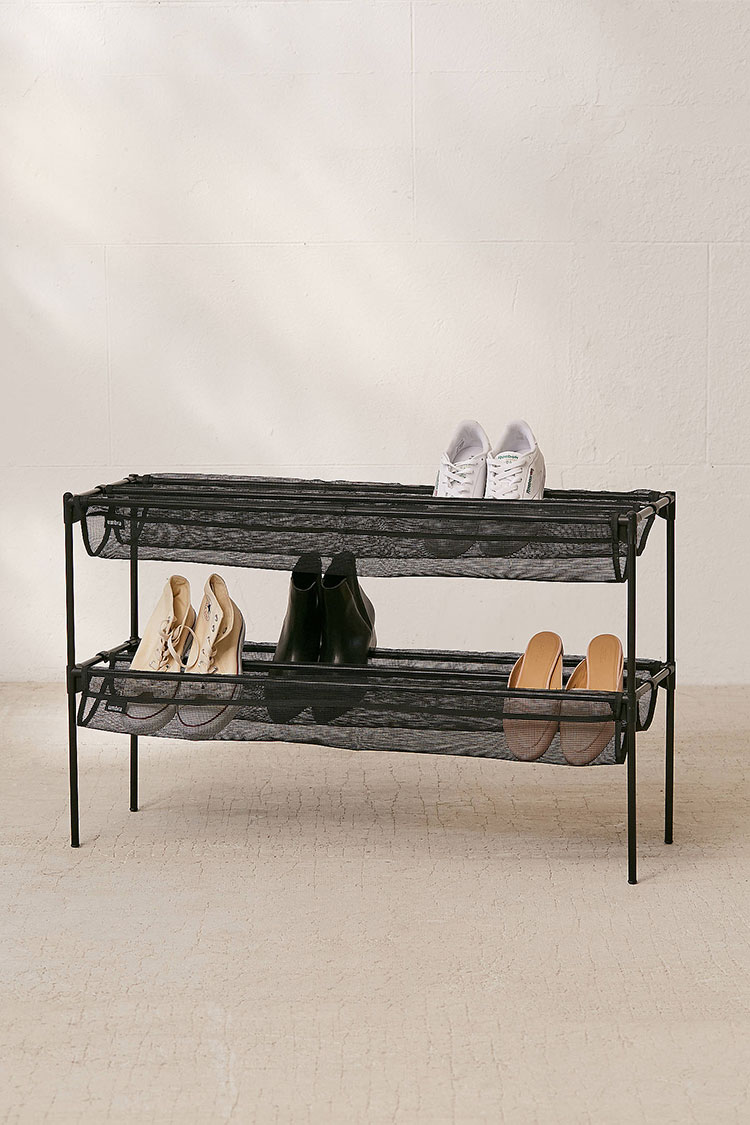 my search for stylish shoe storage, entryway benches, and shoe racks for my small space. #smallspace #tinyhome #storage #organization #shoes #shoestorage