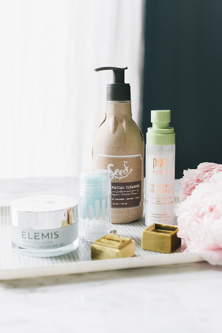 my (super low maintenance) morning skincare routine with Seed Phytonutrients, Nurse jamie roller and massager, pixi hydrating milky mist, milk makeup, elemis & more. #skincare #morning #morningroutine #beauty #skincareroutine