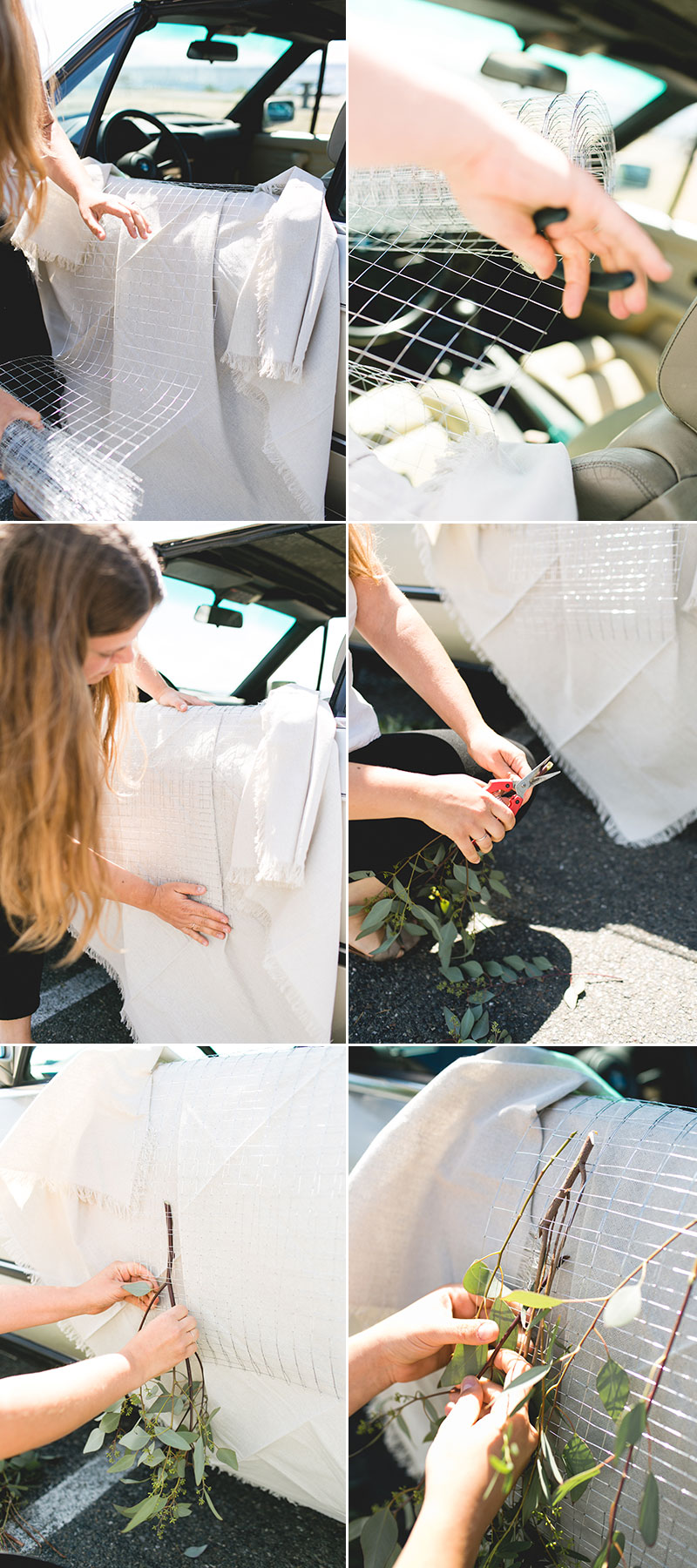 Ombré Peony Floral Installation in a Vintage BMW car. DIY and craft tutorial. Tips for shopping for peonies, arrangement peonies, how to care for peonies.  #vintagecar #peonies #floralinstallation #wedding #getawaycar #weddingcar #peony #peonyarrangement #ombre #rainbow #pinkpeonies