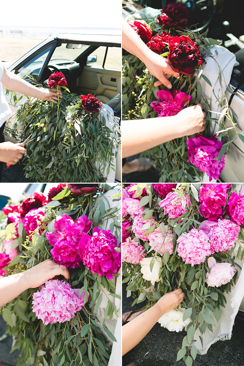Ombré Peony Floral Installation in a Vintage BMW car. DIY and craft tutorial. Tips for shopping for peonies, arrangement peonies, how to care for peonies. #vintageBMW #vintagecar #peonies #floralinstallation #wedding #getawaycar #weddingcar #peony #peonyarrangement #pinkpeonies