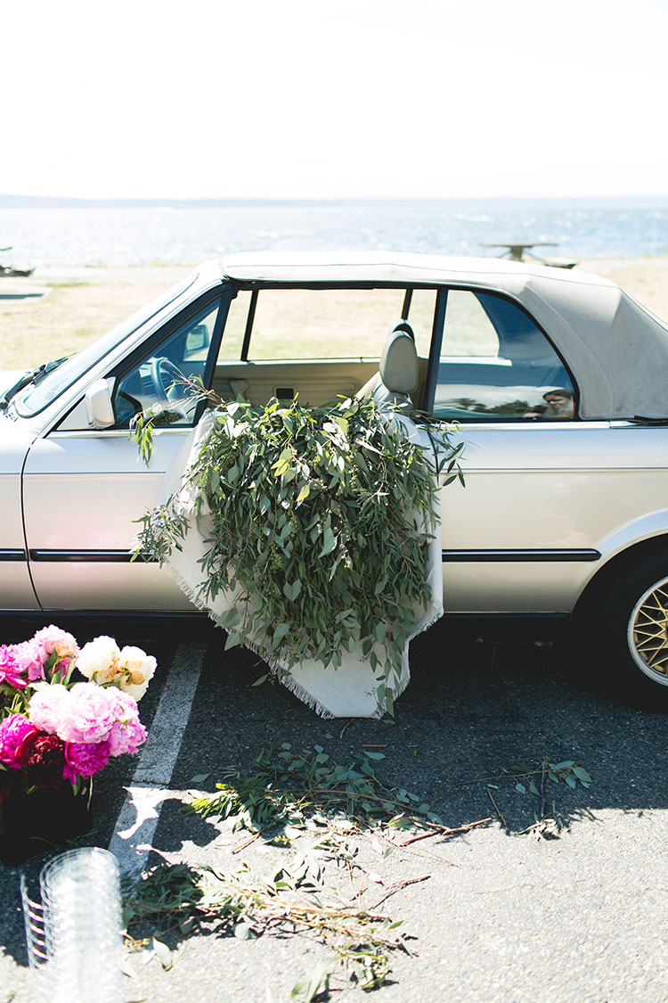 Ombré Peony Floral Installation in a Vintage BMW car.