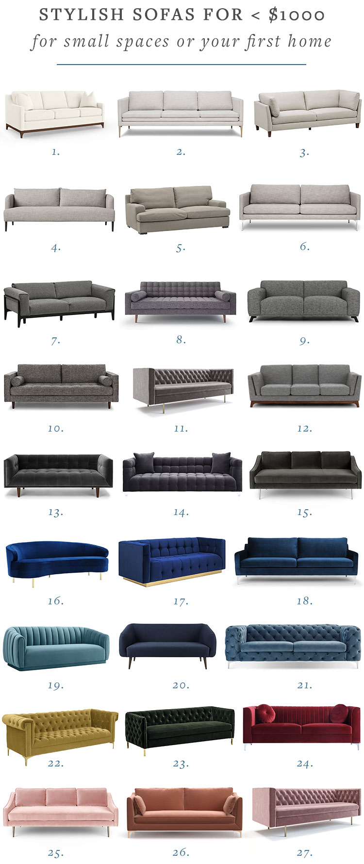 Stylish modern comfortable sofas for small spaces or your first home (under $1000). #smallspaces #shopping #homedecor #interiors #interiordesign #firsthome #couch #sofa #affordabledecor #under1000