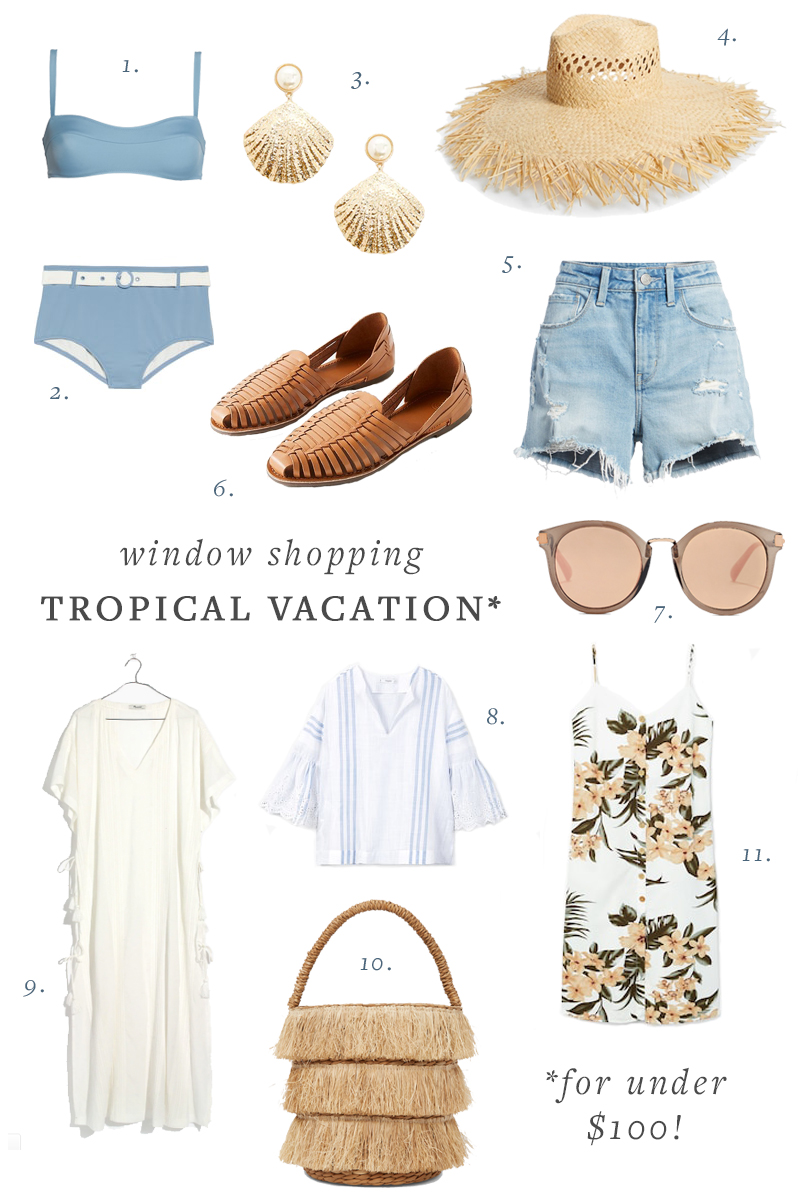 What to pack on your next tropical trip. Vacation clothes and accessories under $100. #under100 #whattopack #vacationstyle