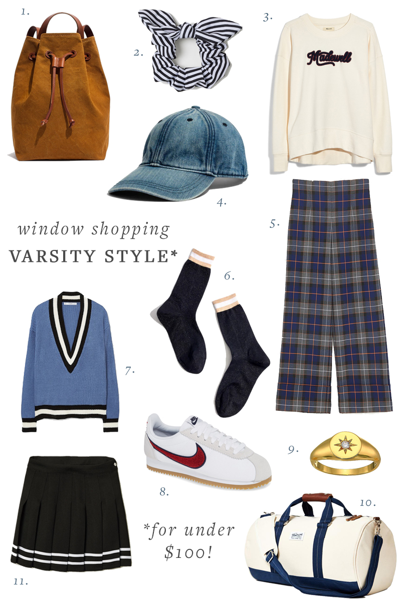take your fall inspiration from vintage back to school days with these varsity styles all for under $100! #under100 #backtoschool #varsity #preppy #fashion