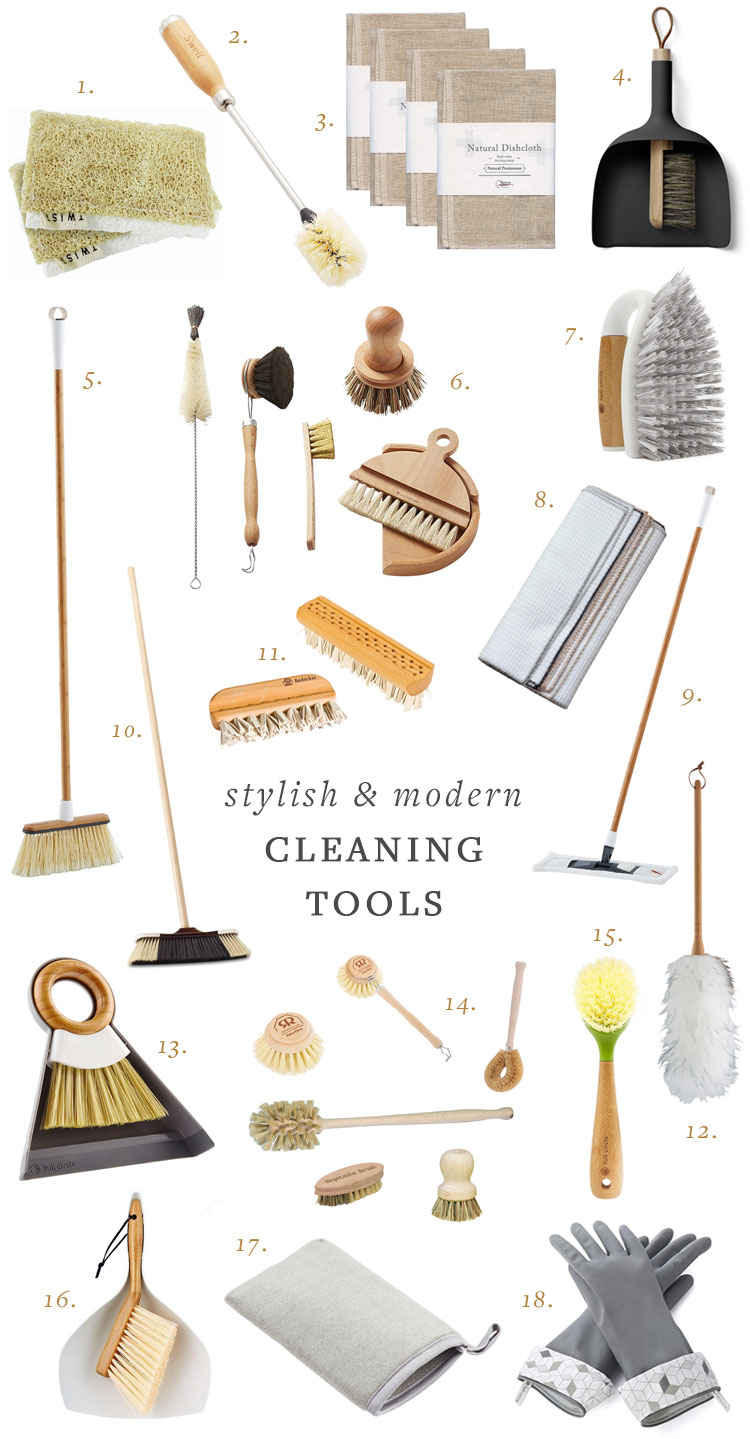 Stylish and Modern Cleaning Tools from Jojotastic including broom, brushes, sponges, natural cleaning clothes, dust pans, cleaning gloves, wooden brush and more. #minimalist #minimalism #cleaningtools #cleaningsupplies