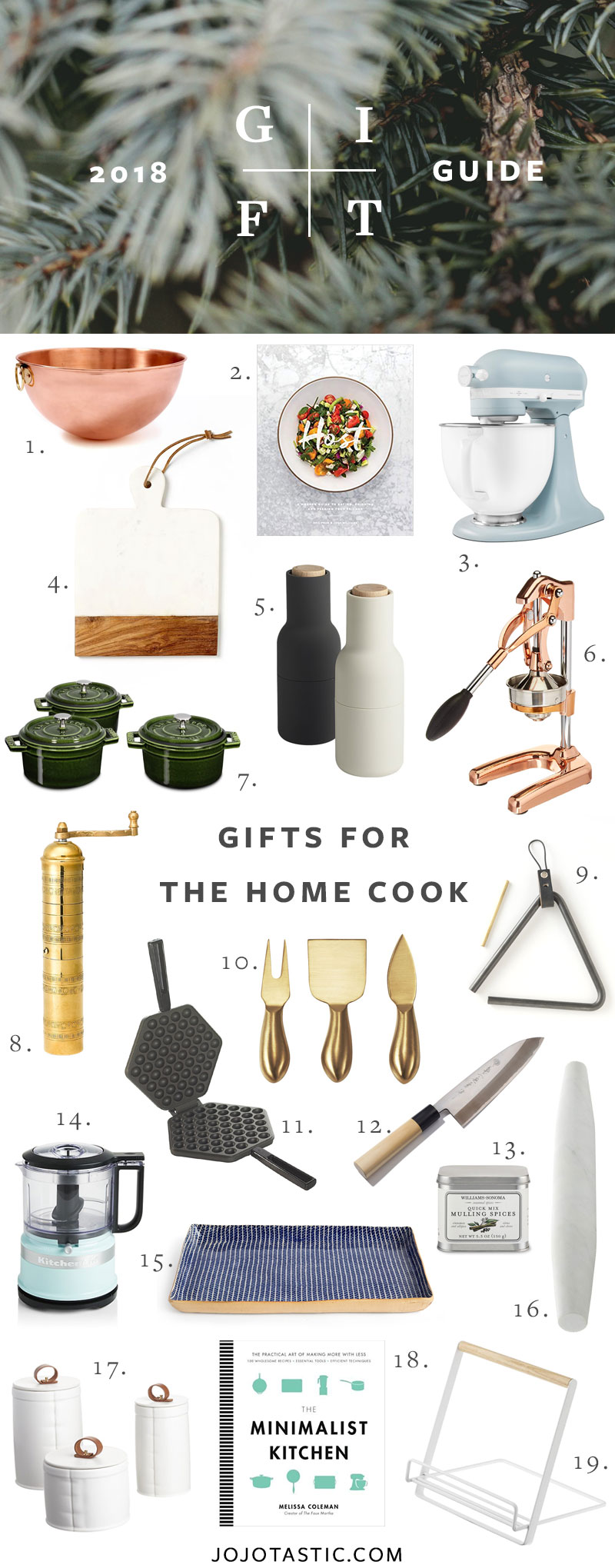 Home Cook Gift Ideas, Gift Guide for Christmas & Holidays 2018 via jojotastic.com #giftguide #giftidea #giftgiving #gifts #presents #christmaspresents #christmasgiftideas #christmasgift #homecook #cookinggifts #hostessgifts
