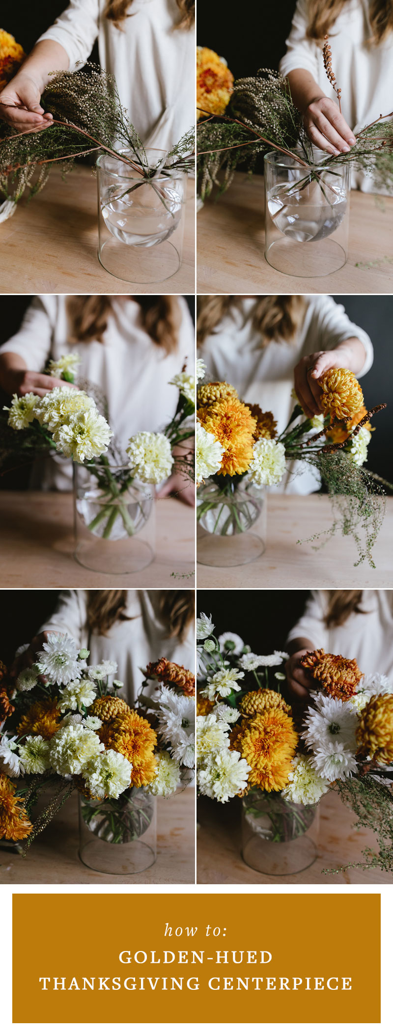 A Golden-Hued Thanksgiving Floral Centerpiece DIY with mums, marigolds, foraged branches, and more! #flowerarrangement #floralarrangement #flowerarranging #centerpiece #DIY #craft #thanksgiving #fall #thanksgivingdecor  #florals #flowers #fallflowers