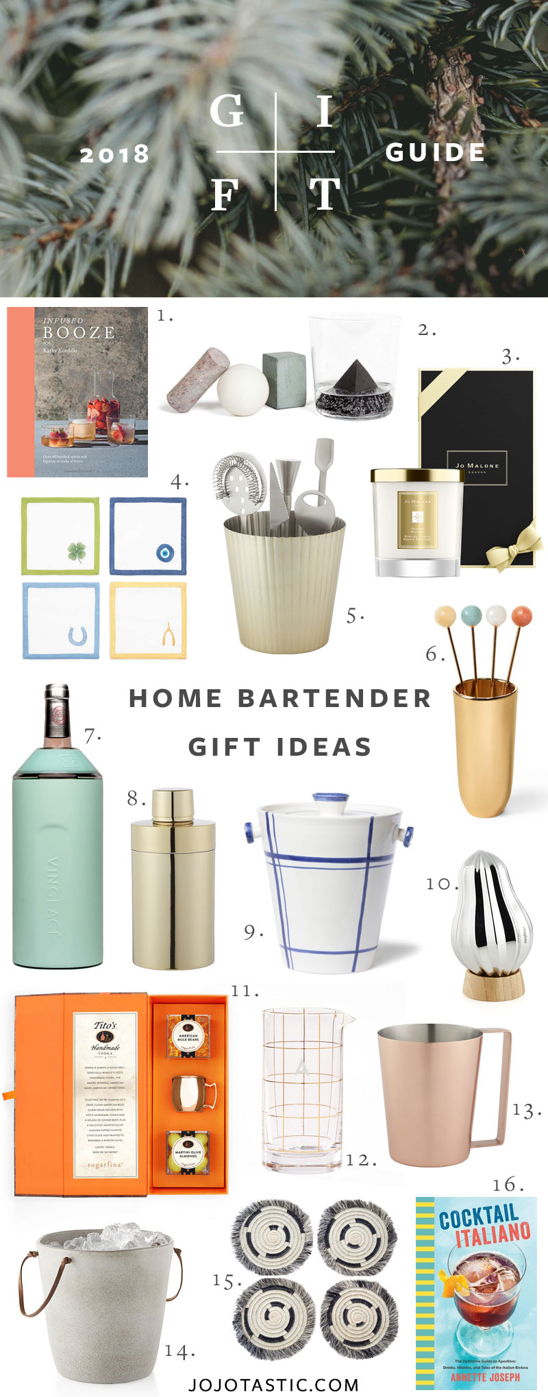 Home Bartender and Cocktail Enthusiast Gift Ideas, Gift Guide for Christmas & Holidays 2018 via jojotastic.com #giftguide #giftidea #giftgiving #gifts #presents #christmaspresents #christmasgiftideas #christmasgift #cocktails #bartender #homebartender #cocktailenthusiast
