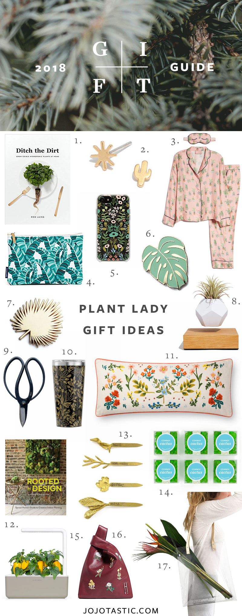 Plant Lady Gift Ideas, Gift Guide for Christmas & Holidays 2018 via jojotastic.com #giftguide #giftidea #giftgiving #gifts #presents #christmaspresents #christmasgiftideas #christmasgift #plantlady #plants