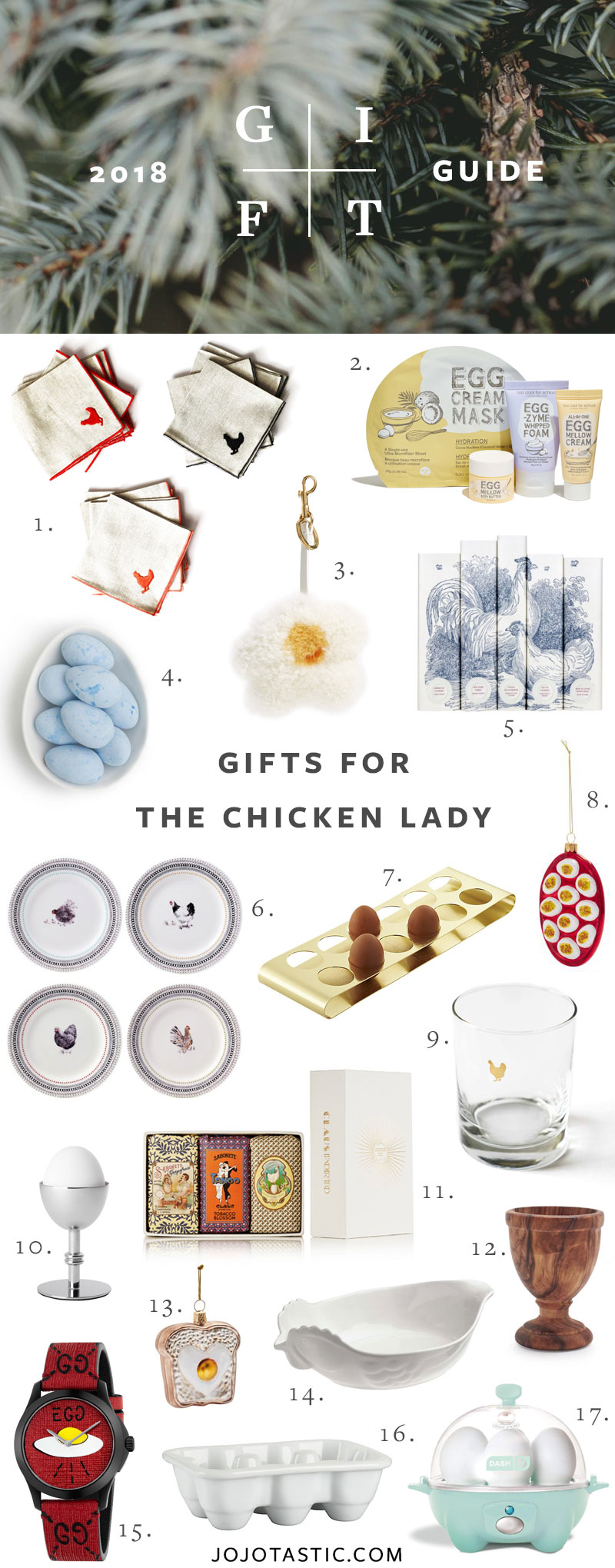 Gift Ideas for the Chicken Lady, Gift Guide for Christmas & Holidays 2018 via jojotastic.com #giftguide #giftidea #giftgiving #gifts #presents #christmaspresents #christmasgiftideas #christmasgift #chickens #backyardchickens #chickenlady #fancychickens #eggs