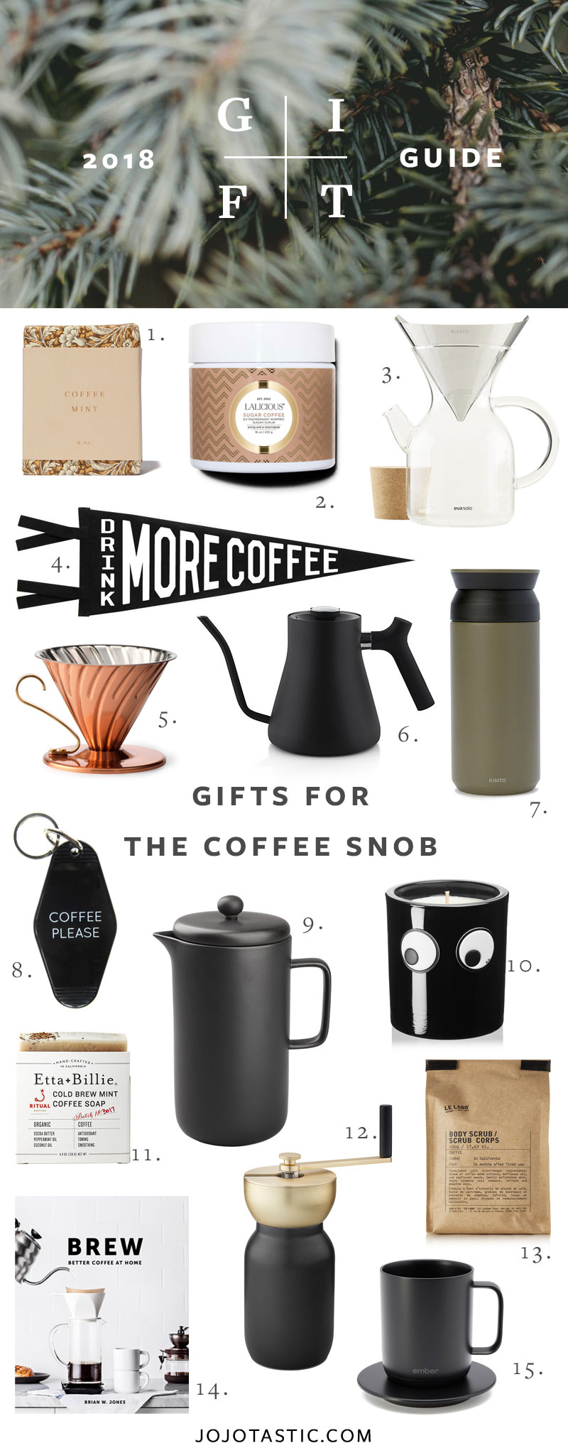 Coffee Gift Ideas, Gift Guide for Christmas & Holidays 2018 via jojotastic.com #giftguide #giftidea #giftgiving #gifts #presents #christmaspresents #christmasgiftideas #christmasgift #homecook #cookinggifts #hostessgifts #coffeesnob #coffeegifts