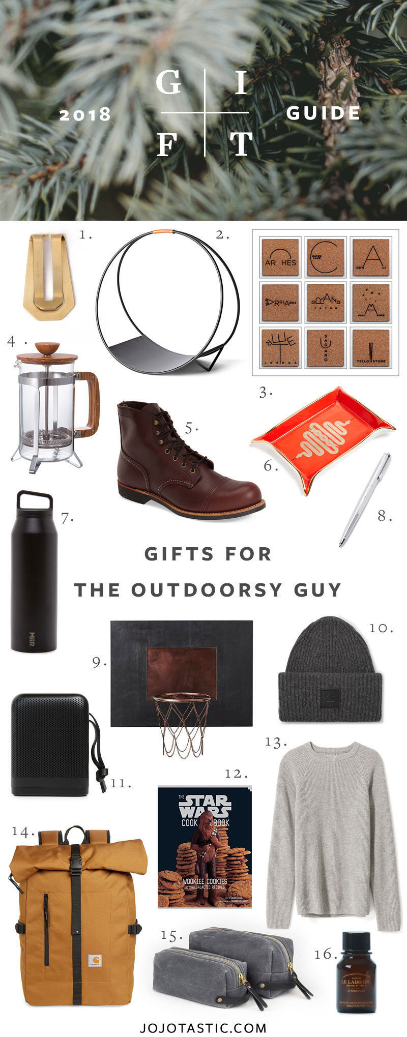 Outdoorsy Guy Gift Ideas, Gift Guide for Christmas & Holidays 2018 via jojotastic.com #giftguide #giftidea #giftgiving #gifts #presents #christmaspresents #christmasgiftideas #christmasgift #outdoorsy #mensgifts #forhim #giftsforhusband #giftsforbrother #giftsfordad #giftsformen