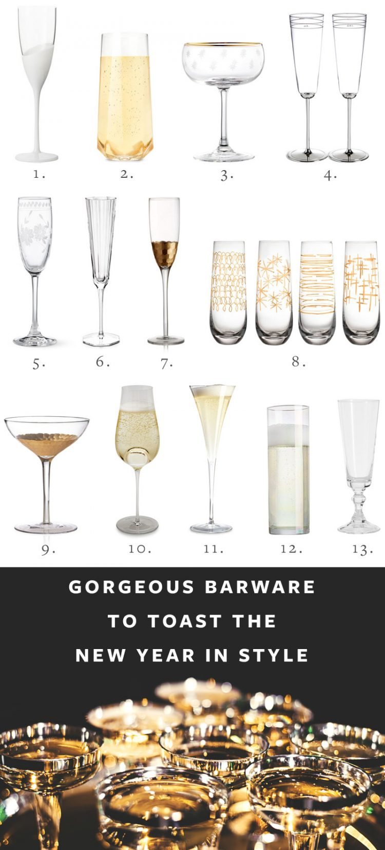 Gorgeous Barware to Toast the New Year in Style via jojotastic.com #entertaining #hostess #hosting #entertainingessentials #NYE #newyearseve #newyears #champagne #champagneflute #coupeglass #coupe #glassware #barware