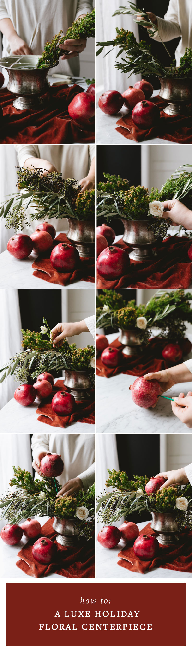 Luxe Holiday Centerpiece with Pomegranates DIY, floral arrangement tutorial for Christmas with spruce, pine greenery, olive branches, spray roses. #florals #flowers #centerpiece #christmas #christmasdecor #christmasDIY #christmasflowers
