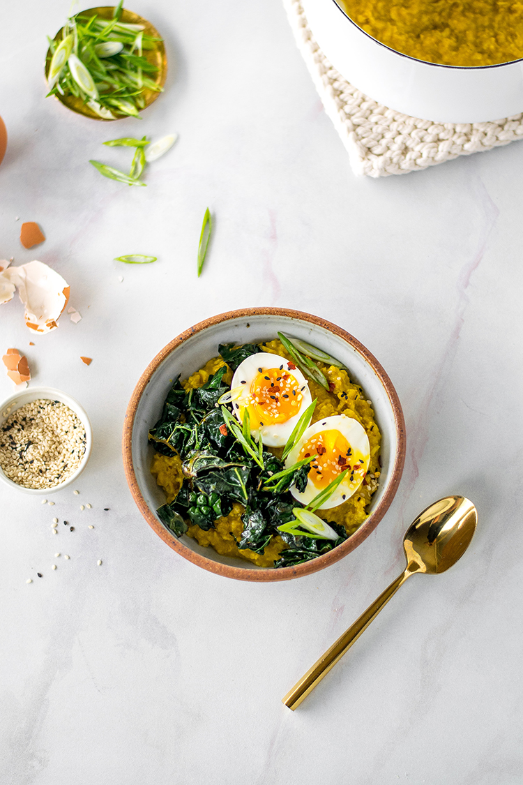 Savory Golden Miso Oats with Sesame Kale and A Jammy Egg for breakfast, brunch, lunch, or dinner. #savoryoats #oatmeal #porridge #kale #boiledegg #jammyegg #healthybreakfast #newyearsresolutions