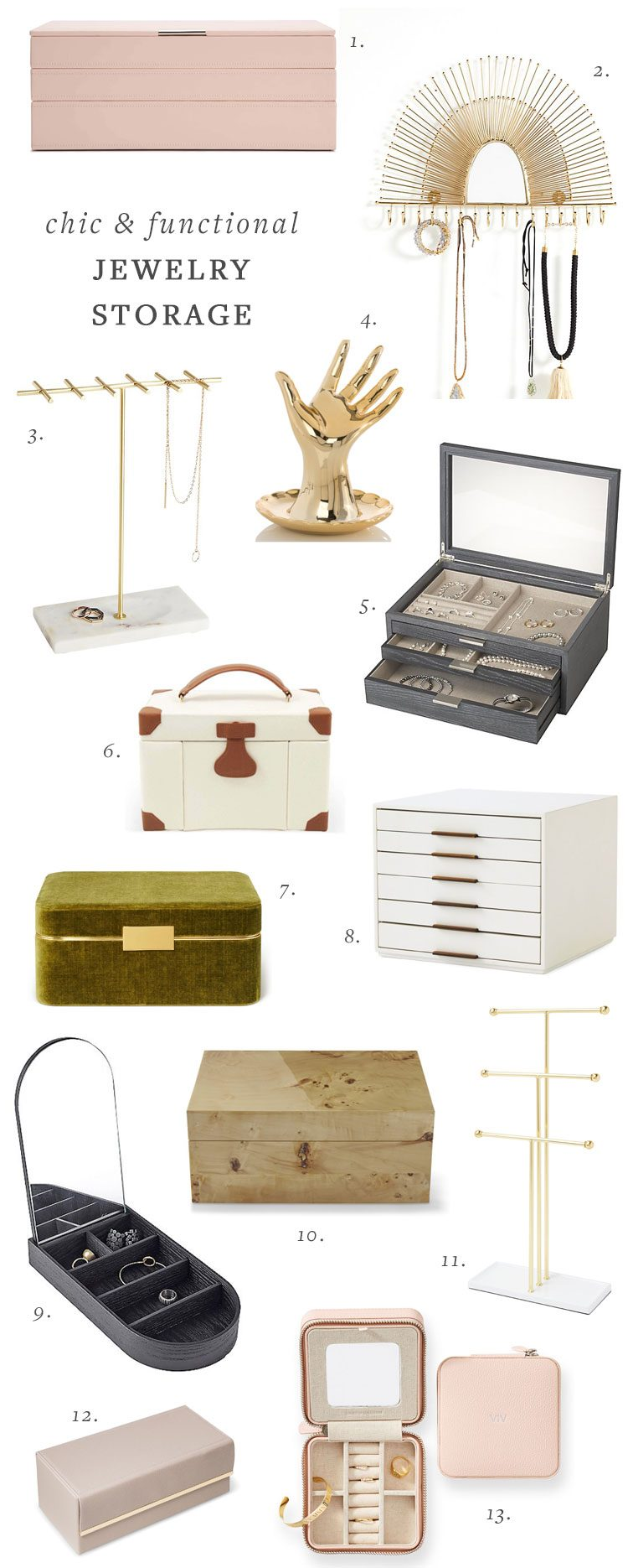 20+ Functional and Stylish Jewelry Storage Ideas! #jewelrystorage #smallspaces #smallstorage #jewelrybox #jewelrystand #organization #storage #storageideas