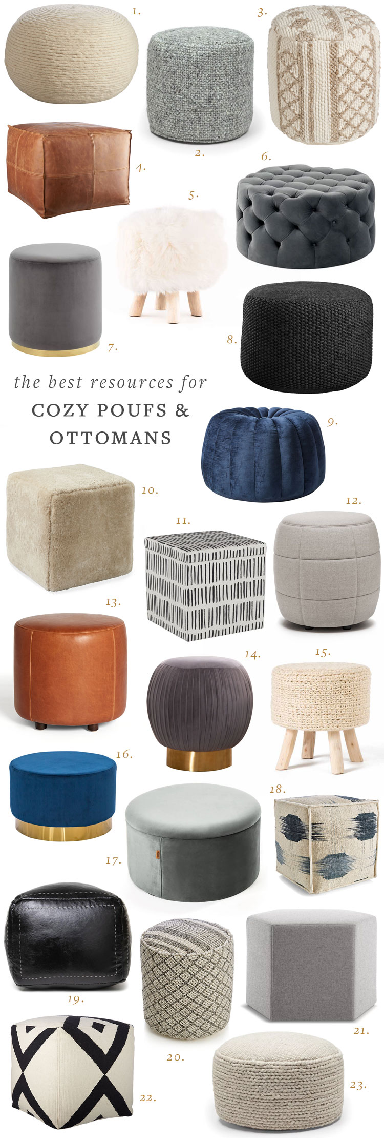 30+ Poufs, Ottomans, and Footstools to Make Your Home Even Cozier! Get the full shopping guide, resource list, and round up on Jojotastic.com #poufs #ottoman #footstool #homedecor #interiordecor #hygge #cozydecor #smallspaces