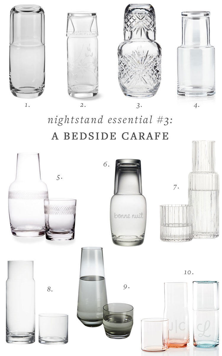 5 Nightstand Essentials To Make Your Bedroom Extra-Cozy via Jojotastic.  including a dish, tray or catchall, bedside carafe, nighttime skincare, sleep mask, cute alarm clock, and journal. #bedtime #nightstand #nightstandessentials #selfcare #bedroomdecor #bedroom