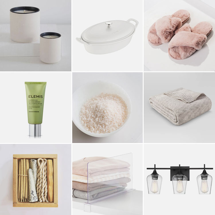 9 things of note: Joanna's Favorite Things from February 2019. Iincluding Staub ceramic baking dish, Elemis jelly exfoliator, Standard Wax candle, pink fuzzy slippers, fancy finishing salt, knit sweater blanket, incense kit, clear shelf dividers, and a new bathroom vanity light!