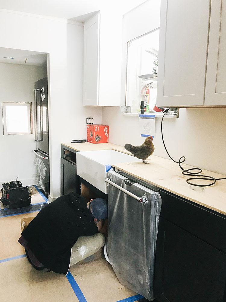 Our Kitchen Renovation: New Farmhouse Sink & Running Water! Small kitchen remodel including cabinets, floor tiles, countertops, faucet finish, hardware, lighting. Designed by interior designer @roomfortuesday w/ @fireclaytile @rejuvenationinc @kitchenaidusa @masterbrandcabinetsinc @deltafaucet @polycordesign @sinkology #ad #oldhouse #kitchen #kitchenrenovation #demoday #renovation #oldhome #oldhomerenovation #smallspaces #smallkitchen #kitchenrenovation #beforeafter #kitchenmakeover #kitchen #makeover #fixerupper
