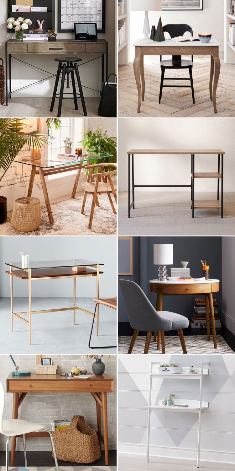 My Epic List of Stylish Desks for Small Spaces! #tinyhouse #smallspace #smalldesk #homeoffice #workfromhome #desk #roundup